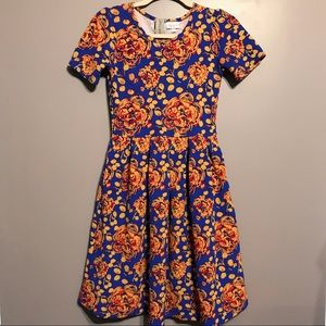 Lularoe Amelia Floral Print pockets Midi Dress XS
